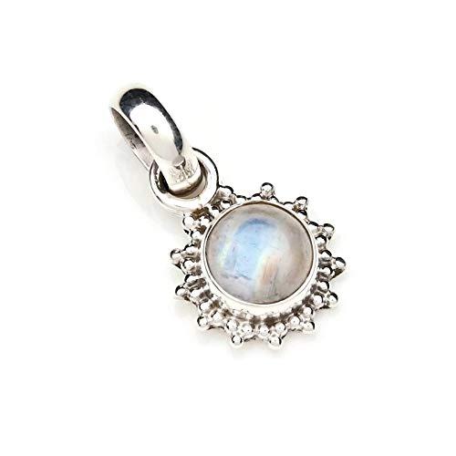 Kettenanhänger Amulett Silber 925 Sterlingsilber Regenbogen Mondstein weiß Stein (Nr: MAH 126-04)