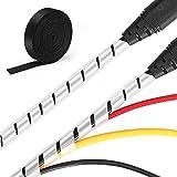 MOSOTECH Sistema di Organizzatore Cavi, 2 x 5,2 m Raccogli Cavi Spiralato 1 x 3,1 m Fascette in Nylon, Flessibile Cavi Guaina per Legare Cavi e Cavo di Protezione-Bianco