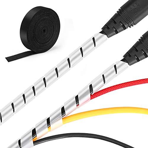 MOSOTECH Kabelmanagement System, 2x5.2m Spiral-Kabelschlauch in Weiß + 1x3.1m Klett Kabelbinder zum Bündeln von Kabeln, Frei Zuschneidba