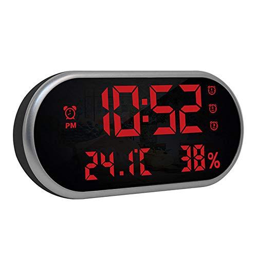 Alarm Clock, Bedside klokken, LED digitale wekker met USB-poort opladen, Big Screen, 3 niveaus van helderheid, voor slaapkamer en Office,Black red light