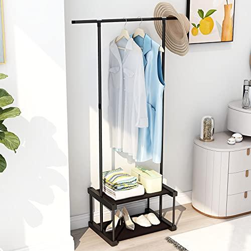 Kleiderstangen für Schlafzimmer Kleiderständer zum Aufhängen von Kleidung Wäschetrockner Metall Kleiderständer freistehend Kleiderbügel Kleiderständer mit unteren Ablagen 2 Ebenen