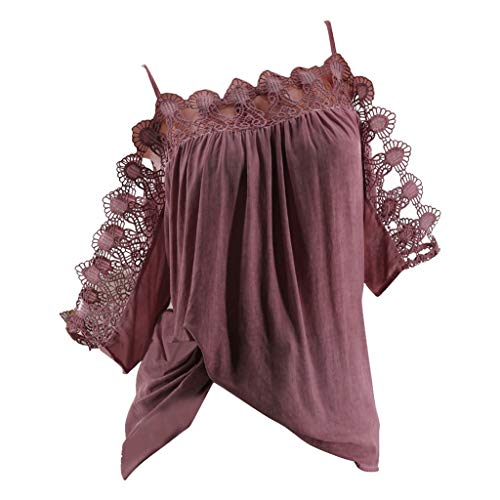 Strappy Lace Plus Size Tops, QIQIU Womens Summer S-5XL Off Shoulder Hollow Out Patchwork Short Sleeve T-Shirt Shirt Wine