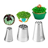 Symphonyw 2, 3pcs Grass Stainless Steel Icing Piping Nozzle Tips for Cake Fondant Cupcake