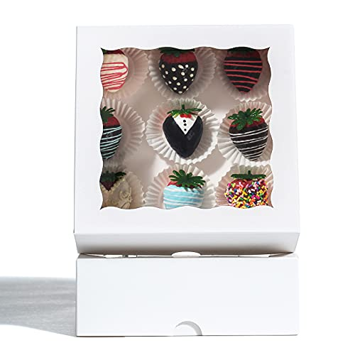 """RomanticBaking 24 Pack Bakery Boxes (not include food)7"""" x 7"""" x 2 1/2""""White Chocolate Covered Strawberries Boxes Cookies Boxes"""
