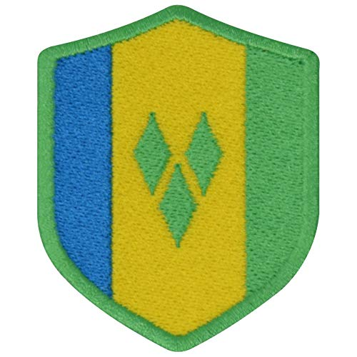 FanShirts4u Aufnäher - Saint Vincent - Wappen - 7 x 5,6cm - Bestickt Flagge Patch Badge Fahne (Grüne Umrandung)
