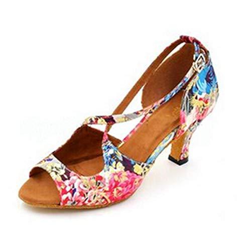 WDRSY Zapatos De Baile Latino Adulto Soft Bottom Latin Dance Ladies Tacones Altos-A_42
