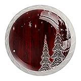 qfkj Tirador de la Perilla del cajón 4 Piezas El cajón del gabinete de Vidrio de Cristal Tira Las perillas del Armario,árbol de Navidad Invierno Blanco Nieve Copos de Pino