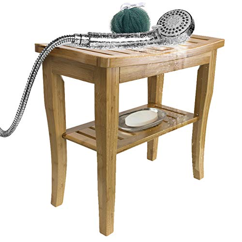 Sorbus Bamboo Shower Bench Stool with Shelf — 2-Tier Wood Storage & Seating for Bathroom, Shower Bench Chair, Bath Stool, Spa Sauna Seat