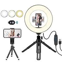 LEDリングライト 卓上 撮影照明用ライト 自撮り補助光 10インチ 3色モード 10段階調光 USBライト 自撮り写真/美容化粧/YouTube Twitter生放送/ビデオカメラ撮影用 Bluetoothリモコン 三脚スタンド付き