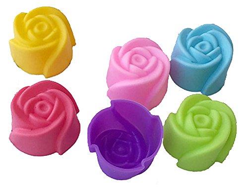 Magik 36 PCS Reusable Non-Stick Silicone Mini Baking Muffin Cupcake Chocolate Cups (Rose)