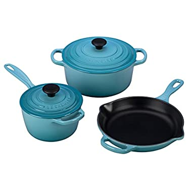 Le Creuset 5 Piece Signature Enameled Cast Iron Cookware Set, Caribbean