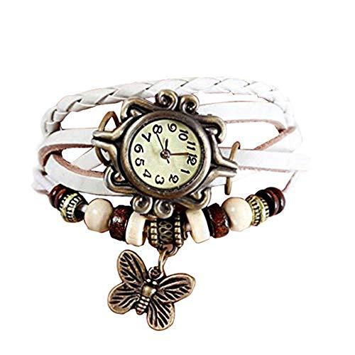 Reloj de pulsera de piel de Joyfeel, estilo retro, con colgante de mariposa, color blanco, reloj de...