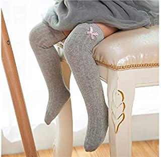 Lovely Socks 6 Pairs Girls Children Cotton Socks Kids Spring and Autumn Cotton Bow Long Tube Socks (Black) Newborn Sock (Color : Grey)