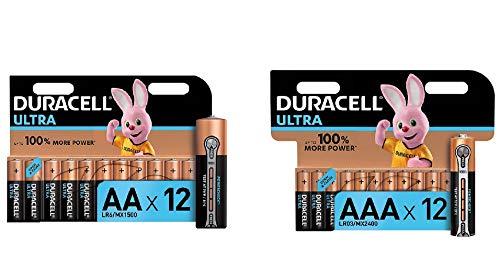 Duracell Ultra Power AA + AAA con Powerchek, 12 Batterie Stilo Alcaline + 12 Batterie Ministilo Alcaline, Confezioni Apertura Semplificata