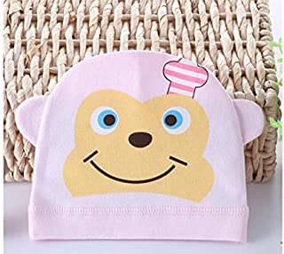 Baby Decoration Hat Monkey Printed Wind Hat Keep Warm Protect Ear Fetal Cap Sleeve Cap for Newborn Cute Cap (Color : Pink, Size : 17x15cm)