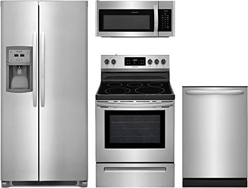 """Frigidaire 4Piece Stainless Steel Kitchen Package FFSC2323TS 36""""Side by Side Refrigerator, FFEF3054TS 30""""Electric Range,FFMV1645TS 30""""Over the Range Microwave,FFID2426TS 24""""Fully Integrated Dishwasher"""