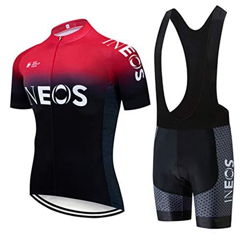 W&TT Conjunto de Jersey de Ciclismo para Hombre Camisa de Ciclismo para Mujer Camisa de Manga Corta Transpirable de Malla de Secado rápido + Pantalones Cortos con Relleno de Gel 3D (XS~4XL),Rojo,L
