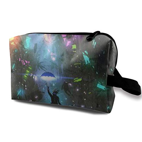 Makeup Bag Cosmetic Pouch Man Holding Magic Umbrella Destroying Futuristic City Digital Art Multi-Functional Bag Travel Kit Storage Bag