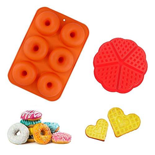 Kungfu Mall Molde de silicona para rosquillas y gofres, molde de silicona para hornear, resistente al calor para tortas de galletas, bandeja de 6 agujeros y 5 agujeros de corazón de gofres