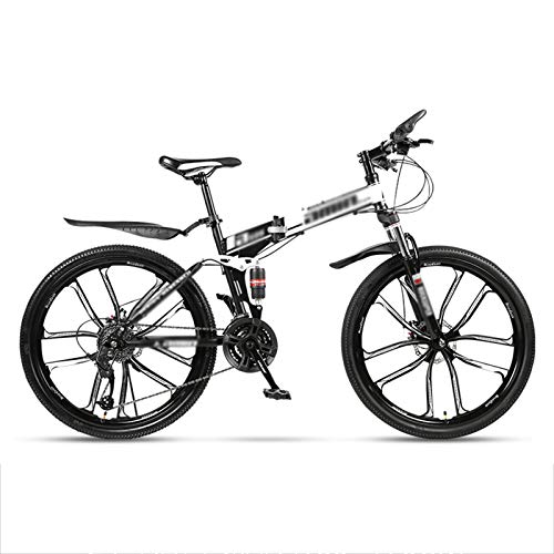 24' Folding Mountain Bikes,Front and Rear Double Suspension System,Mountain Bike 24 Speed,Folding Mountain Bikes for Adults and Students,Black