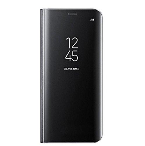 Coque pour Samsung Galaxy Note 8 Coque Case Etui Flip Clair Transparente Anti-Empreintes Housse Plating Mirror Téléphone Portable Couverture Standing (Noir)