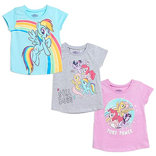 My Little Pony Little Girls 3 Pack Graphic Short Sleeve T-Shirt Grey Blue Purple 6-6X