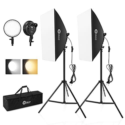 OMBAR Softbox Fotografía Kit para Estudio Fotográfico 45W 2700K-5500K E27 Iluminación Fotográfica, con 2 Softbox 50×70cm y 2 Cabezas de Luz para Fotografía, Fotos, Vídeos y Transmisión en Vivo