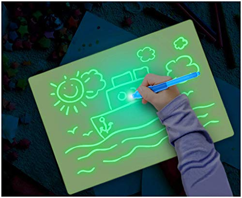 Noa Store Fun Drawing Pad Board Glow in Dark with Light for Kids Painting Board Educational Toy and Developing Drawing or Writing Skills