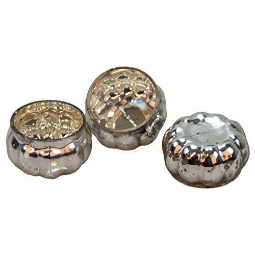 Glaskönig Schwimmkerzen Silber Gold Teelichthalter Glas 6cm im 3er Set - Wiederverwendbarer Schwimmkerzenhalter aus mundgeblasenem Glas für Teelichter
