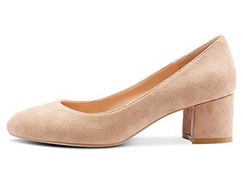Castamere Damen Mittel Heels Runde Zehen Sexy Elegant Pumps Blockabsatz 5CM Braun Kamel Wildleder Schuhe EU 39
