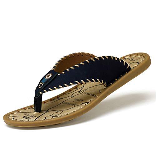 Jiahe Sandalias para Hombre Flip Flop Tanga de Cuero Pin-up Dedo Zapatillas Interior y al Aire Libre Fondo de tendón Zapatos Ocasionales,Blue,40