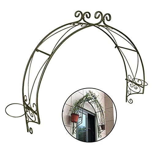 Enrejado de jardín de metal para plantas trepadoras Arco de cenador de jardín montado en la pared con 2 anillos de macetero para puertas de ventana Vines Soporte de planta para pepinos Ivy Roses