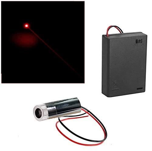 CTRICALVER 1 Stück 650nm 3-6V rote Laser-Dot-Modul-Diode mit Fahrer-Kunststoff-Objektiv+ 1pcs AA Batteriehalter