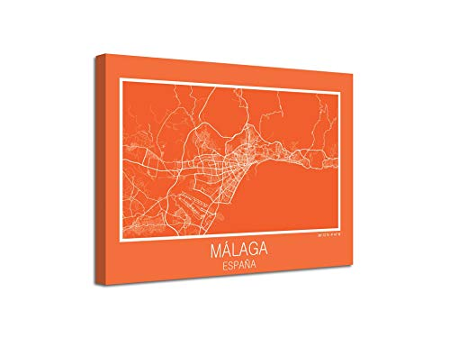 Afbeelding op canvas, landkaart Spanje Mallaga op canvas, decoratief, moderne afbeeldingen 80 x 60 Cm Con Bastidor - Listo para colgar Azul