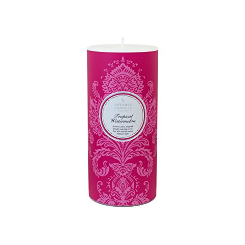 Shearer Candles Tropical Watermelon Scented 6 inch Pillar Candle-White
