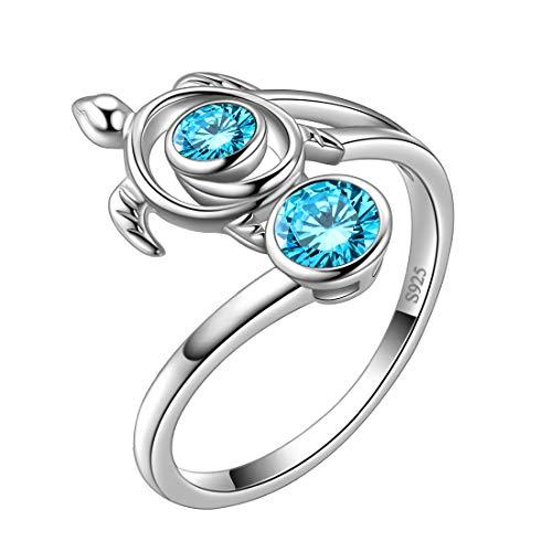 Aurora Tears Blue Turtle Rings Celtic Spiral 925 Sterling Silver March-Aquamarine Sea Animal Viking Swirls Turtle Adjustable Ring Open Women Birthstone Ancient Symbol Crystal Cute Jewelry DR0084B