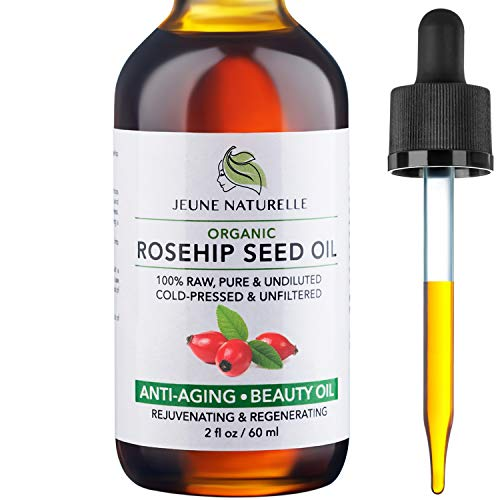Rosehip Oil - 100% Pure RAW Organic, Virgin, Cold-Pressed, Unrefined for Anti Aging, Acne Eczema Wrinkles Dark Spots Scars Rosacea - Face Serum Oil - Anti Aging Beauty Rose Hip Oil, 2oz