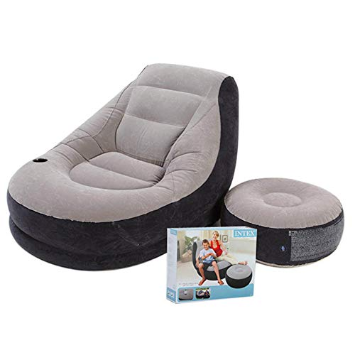 AYUE® Inflable Deluxe Salón Tumbona Silla 1 Persona con Otomana Foot Stool Resto - Seat Alisadora Individual Sofá
