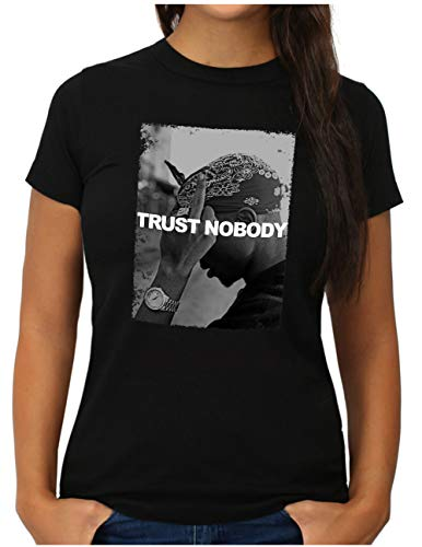 OM3 Trust-Nobody – Camiseta para mujer Tupac Shakur Hip Hop Legend King of Rap Slogan Negro L