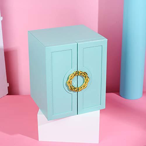 Organizador de caja de joyería, diseño de puerta de doble apertura y 7 capas de almacenamiento de joyas para anillos, collar y pendientes, piel sintética, color azul