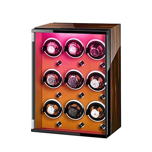 Cajas Giratorias para Relojes Bobinado Vertical De 90 ° LED De Siete Colores para Motor Super Silencioso Pintura De Piano De Lujo 9 + 0 Fácil Acceso
