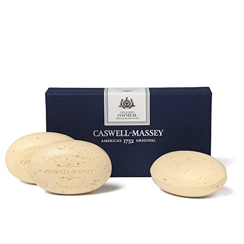 Caswell-Massey Triple Milled Luxury Bath Soap Set - Oatmeal and Honey - 5.8 Ounces Each, 3 Bars