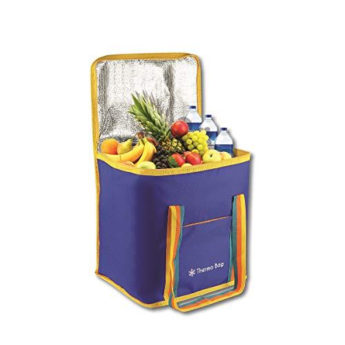 Boubou 30,5 L Kühlbox 35x25x25cm Isoliertasche Große Kühltasche Campingtasche Picknicktasche Quadratisch Reisetasche Einkauf Auto Blau