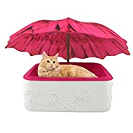 """Cat Bed Small Dog Bed Umbrella Shelter Pink Suede/Foam Cushion 16"""" x16"""" White High Impact Base 26"""" Pink Daisy Umbrella"""