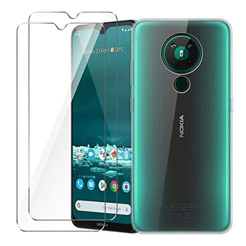LJSM Cover per Nokia 5.3 Trasparente + [2 Pezzi] Pellicola Protettiva in Vetro Temperato - Morbido Silicone Custodia Protettivo TPU Case per Nokia 5.3 (6.55')