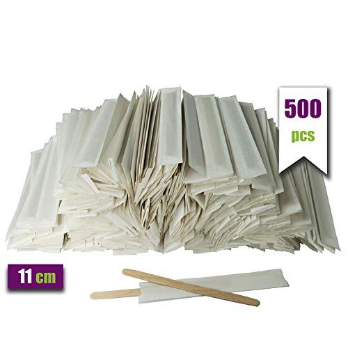 500 Kaffeelöffel aus Holz, einzeln in Papier verpackt. Einweg-Kaffeestäbchen, 11 cm lang, biologisch abbaubar