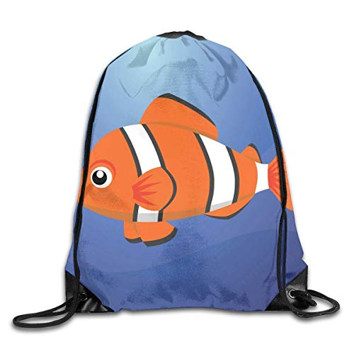 Drawstring Backpack Gym Bag Travel Backpack A Clown Fish Small Drawstring Backpacks for Women Men Adults,Drawstring Bag Sport Gym Backpack Gym Bag for Men and Women