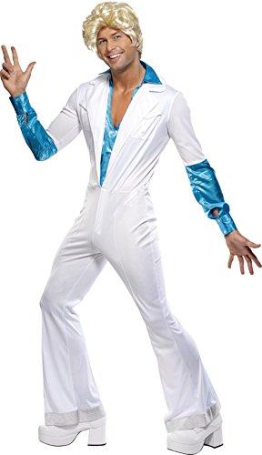 """Smiffys-33346L Hombre Disco, Todo es un Solo Disfraz, Enterizo con Camisa unida, Estilo de los 70, Color Blanco, L-Tamaño 42""""-44"""" (33346L)"""