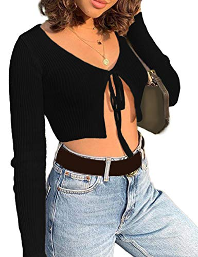 xxxiticat Women's Front Tie Up Crop Top Shirt Long Sleeve Lace Up Knitted Open Cardigan V Neck Bolero Cropped Basic Tees(BL,S)
