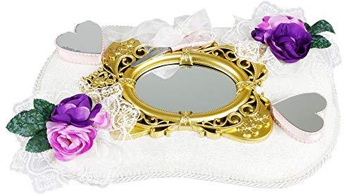 Ringkussen | trouwring dienblad | verlovingsring dienblad | set | bloemen | spiegel | hart | goud | romantisch | traditioneel